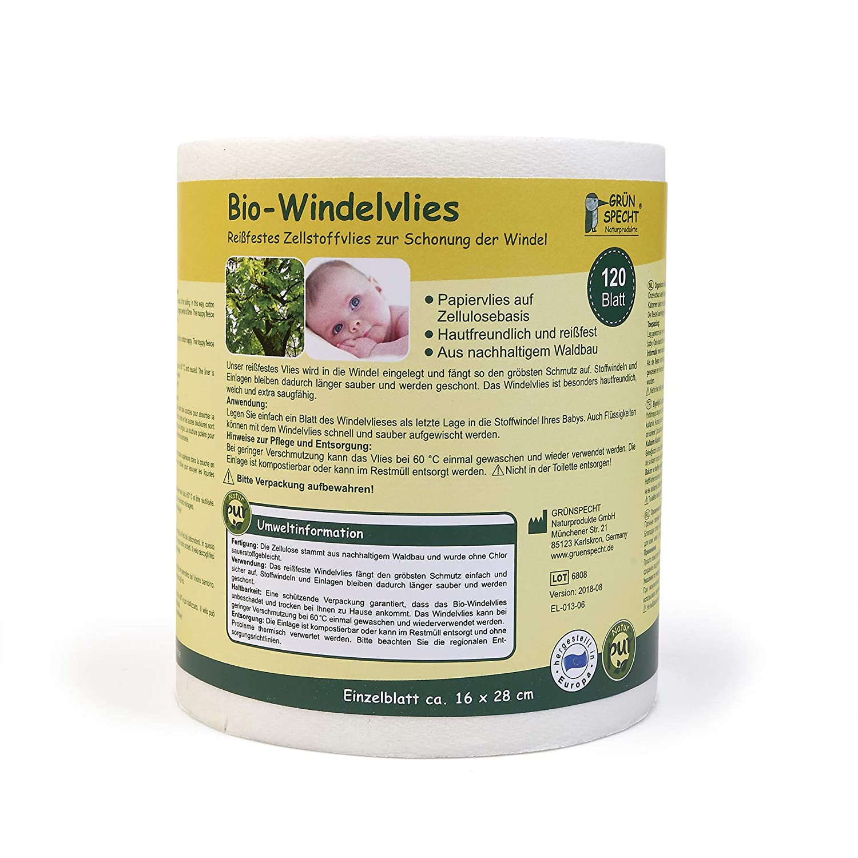 Grünspecht 676-00 Bio-Windelvlies 120 Blatt, weiß weiß