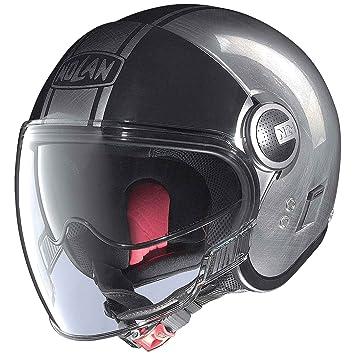 Casco para Moto Tipo Jet N21 Visor Duetto Lexan N- Com – de Cromo Rayado