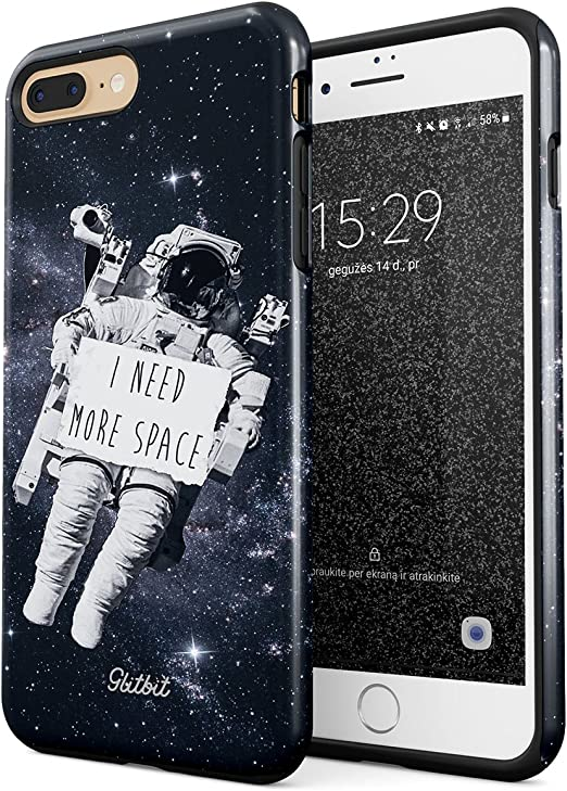 Glitbit Compatible with iPhone 7 Plus iPhone 8 Plus Case I Need More Space Astrounaut in Space Galaxy Stars Cosmos Heavy Duty Shockproof Dual Layer ...