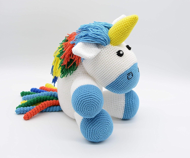 Einhorn Kuscheltier, blau Amigurumi Baby, gefüllte Geschenk, Regenbogen Plüsch für die Kleinen gefüllte Geschenk