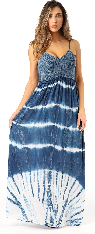 Riviera Sun Rayon Crepe Spaghetti Strap Maxi Dress
