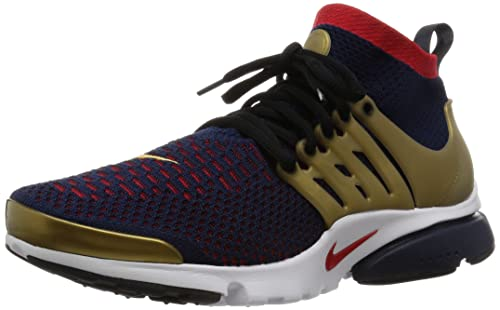 finest selection ea4fc b7aa3 Nike Mens Air Presto Flyknit Ultra Olympics Challenge Navy Commet Red-Metallic  Gold Fabric