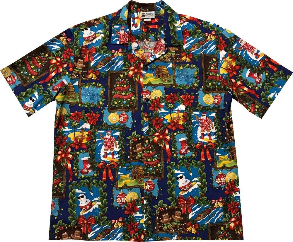 Aloha Republic Medium Blue Gingerbread Man Ornaments Candy Canes Hawaiian Christmas Shirt 2017