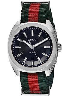 Gucci Swiss Quartz Stainless Steel and Nylon Dress Green Mens Watch(Model: YA142305)