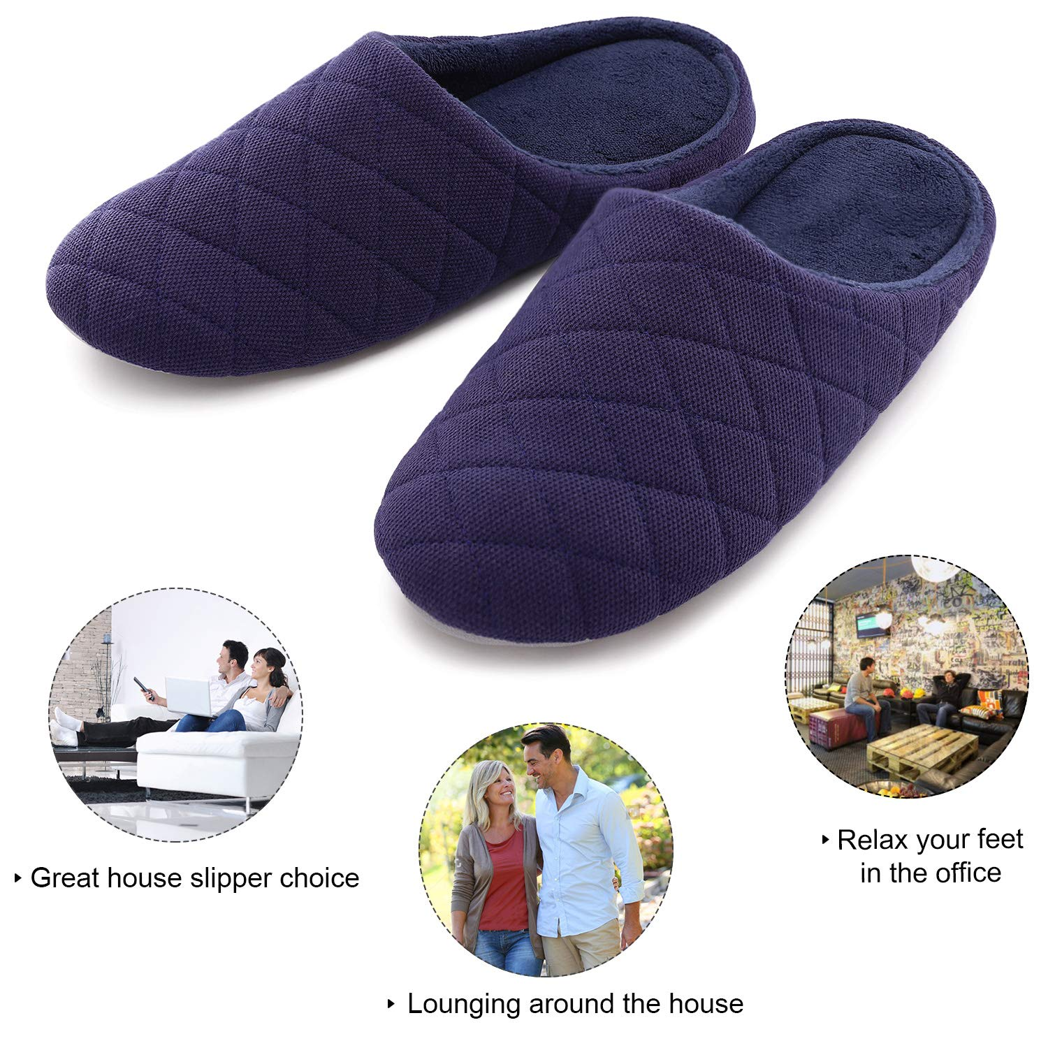Mens Comfort Quilted Cotton Memory Foam House Slippers Slip On House Shoes