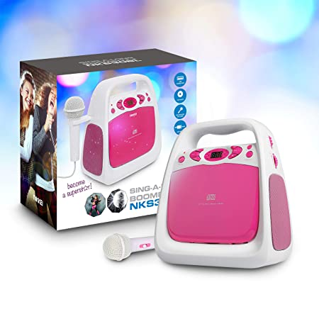 NIKKEI Karaoke Set für Kinder | Portable Speaker mit Mikrofon, CD-Spieler, Radio, USB, AUX-Input | Karaoke-Set für Kids, 3 Wa