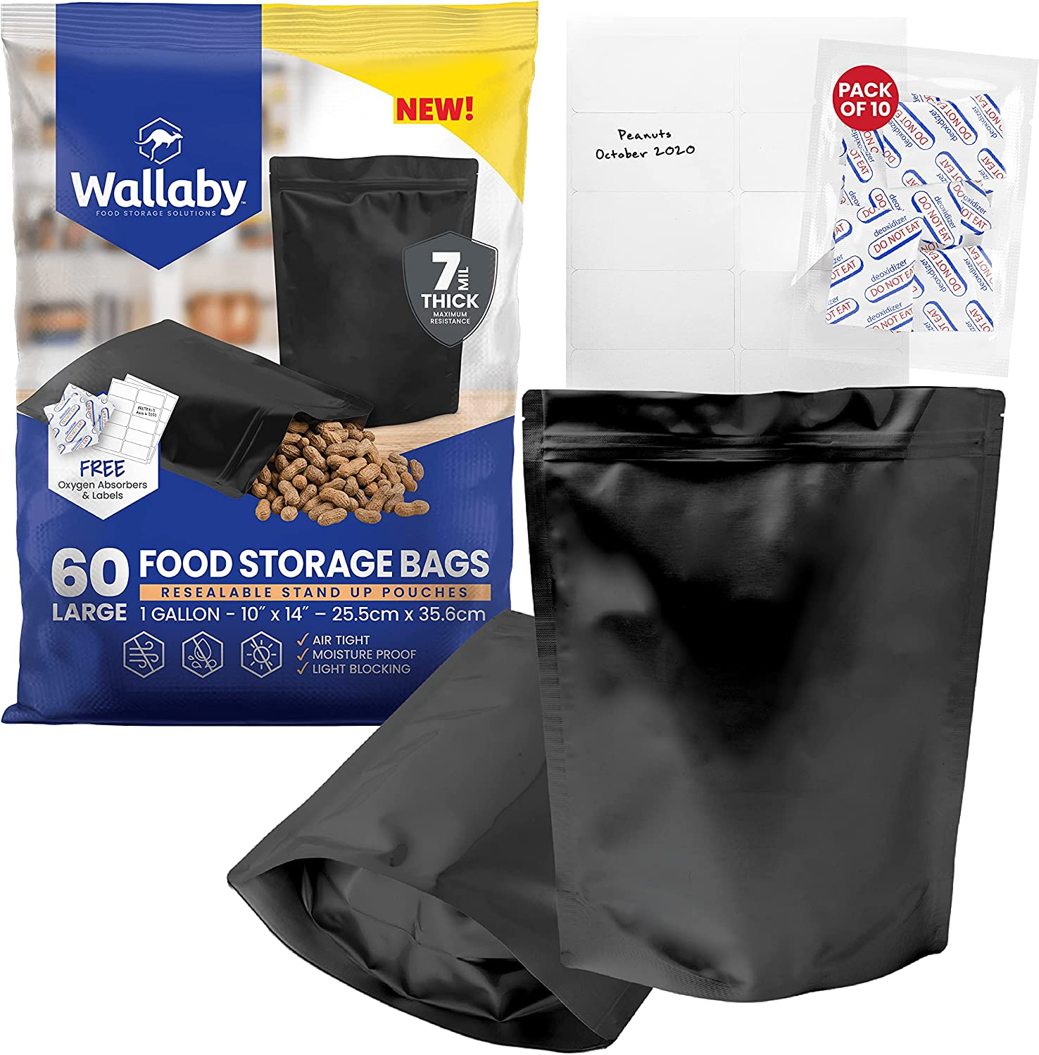 60 Wallaby Mylar Bag Bundle - 1 Gallon Stand-Up Zipper Pouches - (7 Mil-10''x14''), Oxygen Absorbers, Labels - Resealable Zipper, Heat Seal, FDA Grade, for Long Term Food Storage (Matte Black)