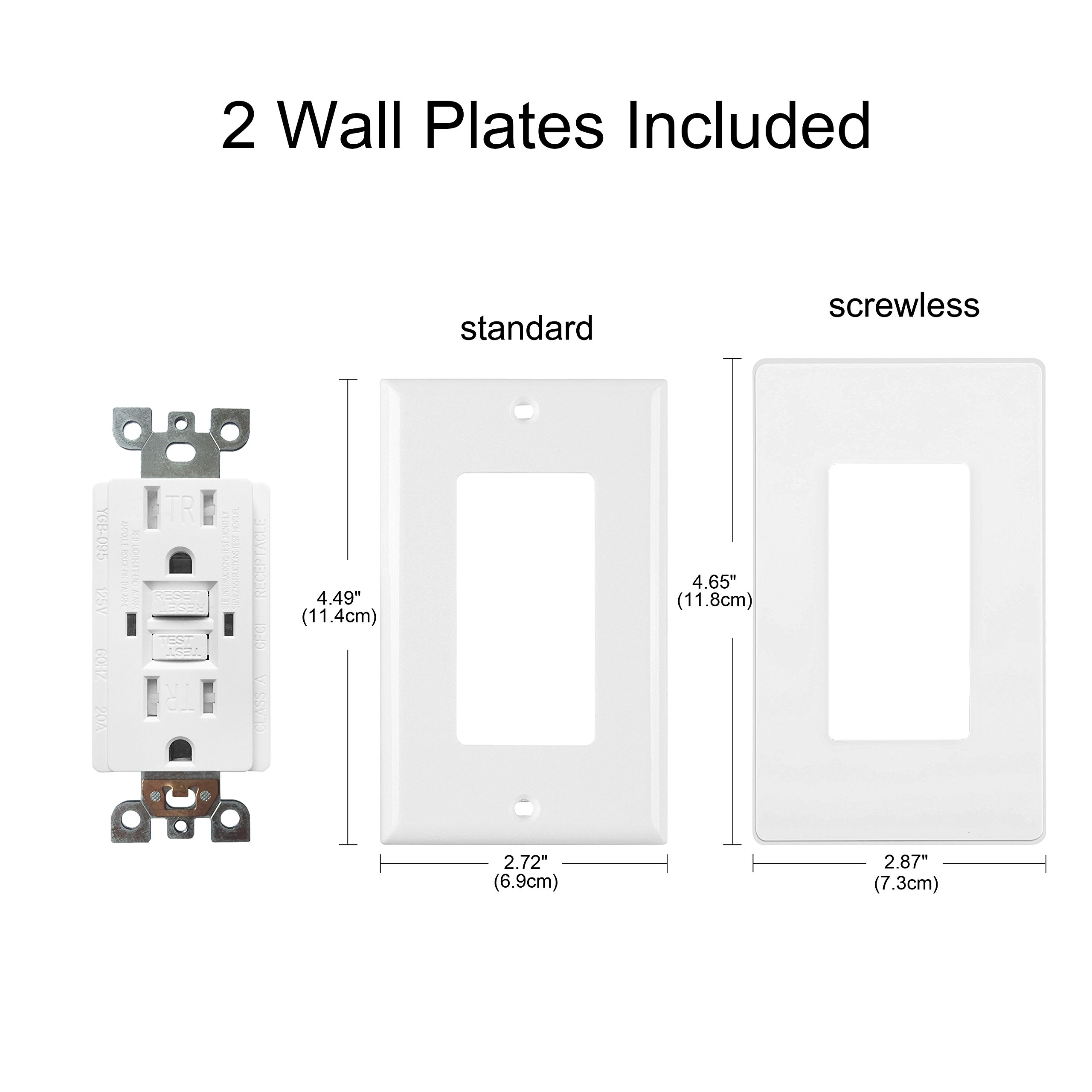 [10 Pack] BESTTEN 15A Dual Indicator Self Test GFCI Receptacle, 15A/125V/1875W, Tamper Resistant Outlet, 2 Wall Plates and Screws Included, Auto-Test Function, UL Certified, White by BESTTEN (Image #4)