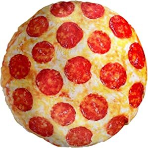 Pizza Round Pillow 2.0, Big and Soft, Double Sided 17.5 Inches for Adult and Kids, Novelty Realistic Funny Food Pillow for Everyone, Great for Couch, Chair, Sofa, Bed, Seat Cushion (Pizza)