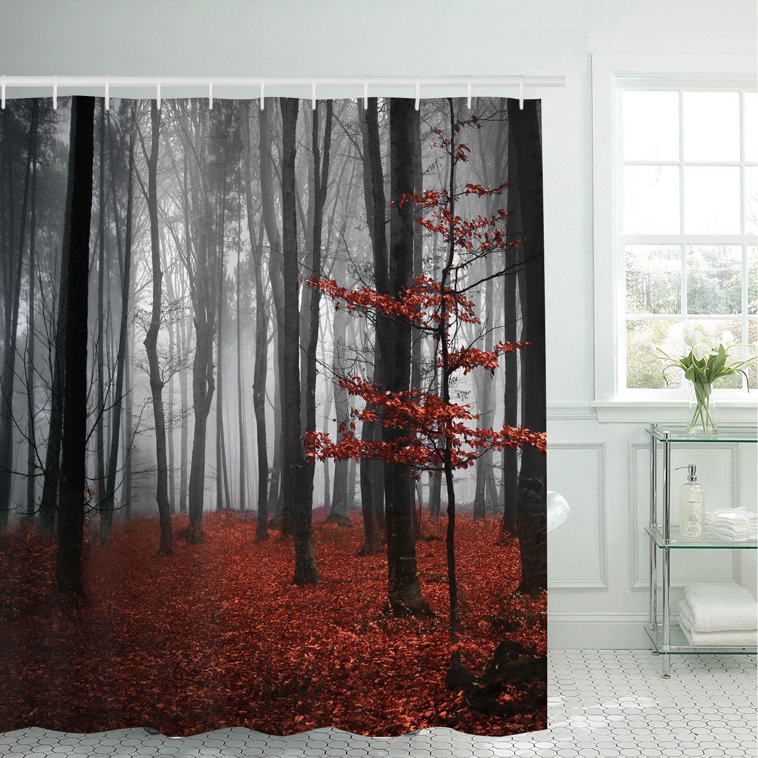 modern timesm Bathroom Shower Curtain Mystic Forest Bathroom Curtain with 12 Hooks, Trees Red Leaves Shower Curtains Durable Waterproof Fabric Bath Curtain
