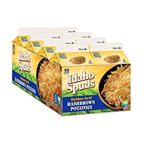 Idaho Spuds 100% Real Potato, Gluten Free, Golden Grill Hashbrowns 4.2oz (8 Pack) - packaging may vary