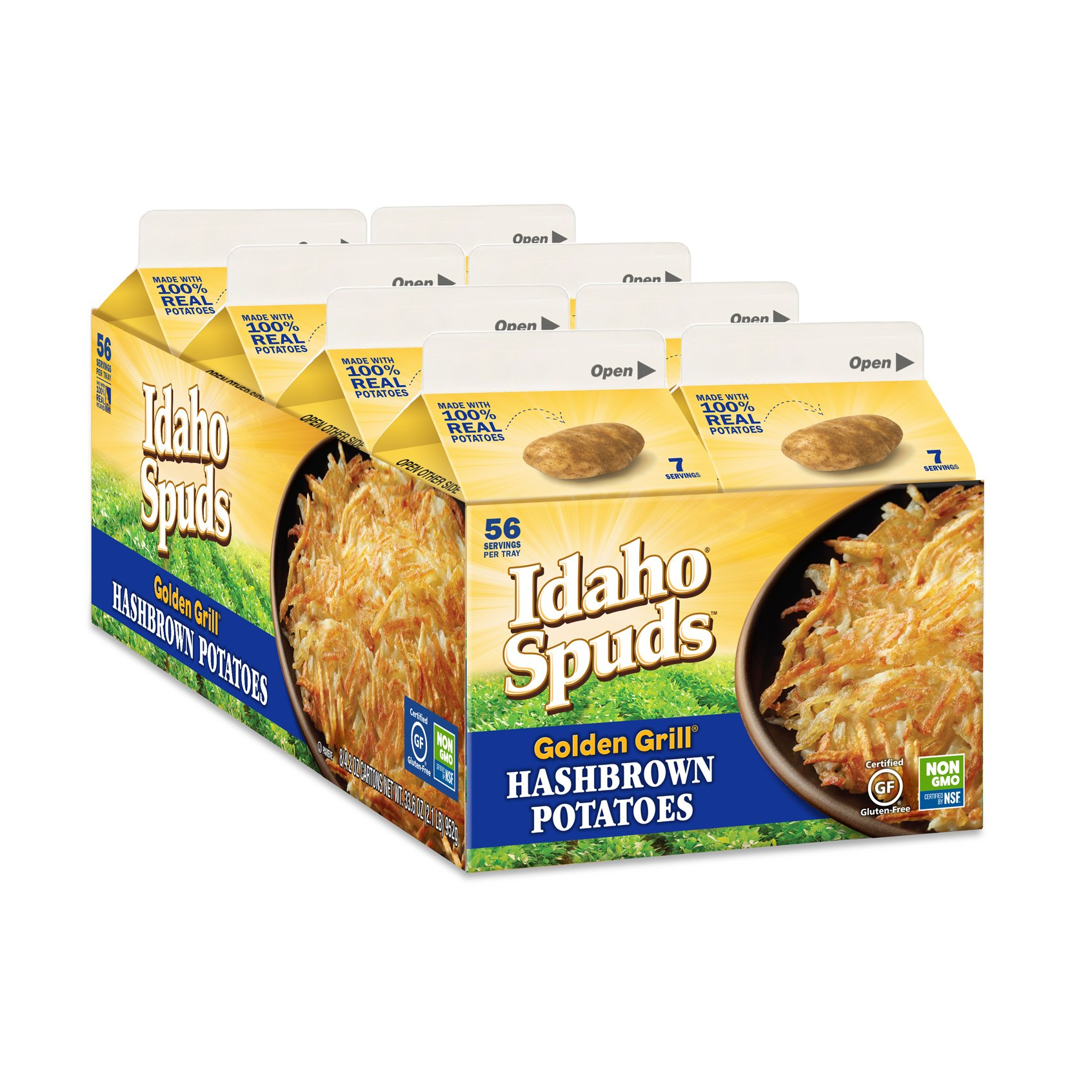 Idaho Spuds Non GMO Gluten Free Golden Grill Hashbrowns, 8 Count