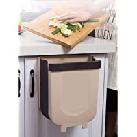 SLEEKFIT Foldable Hanging Rubbish Bin, Small Collapsible Waste bin, Hanging Rubbish Holder, Silicone Folding Waste Bin for Kitchen, Bathroom, Bedroom & Office (Brown)