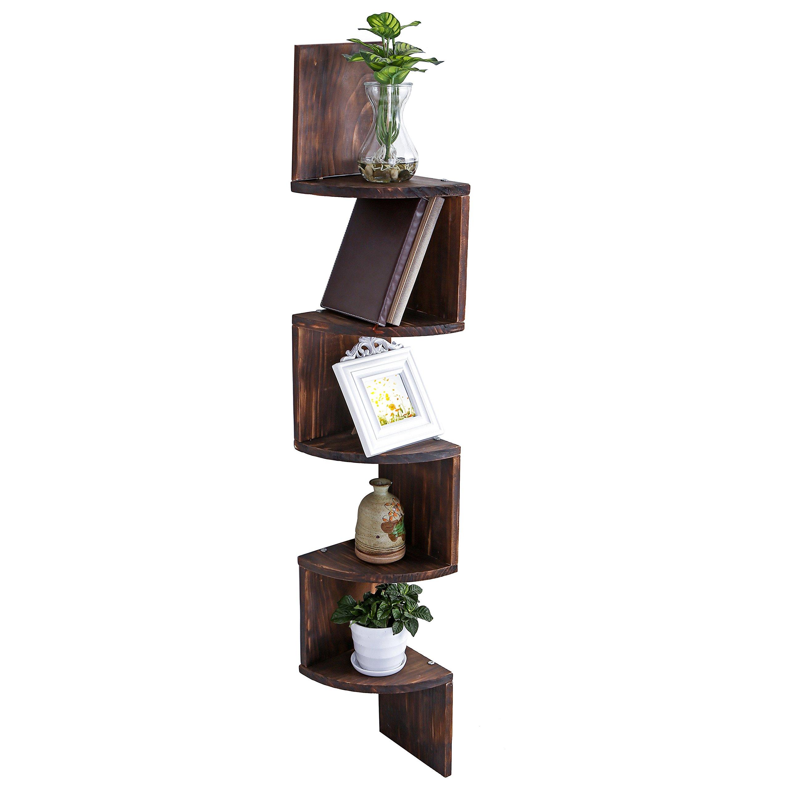 MyGift Wall Mount Wood Corner Shelves, 5 Tier Storage Display Rack, Dark Brown