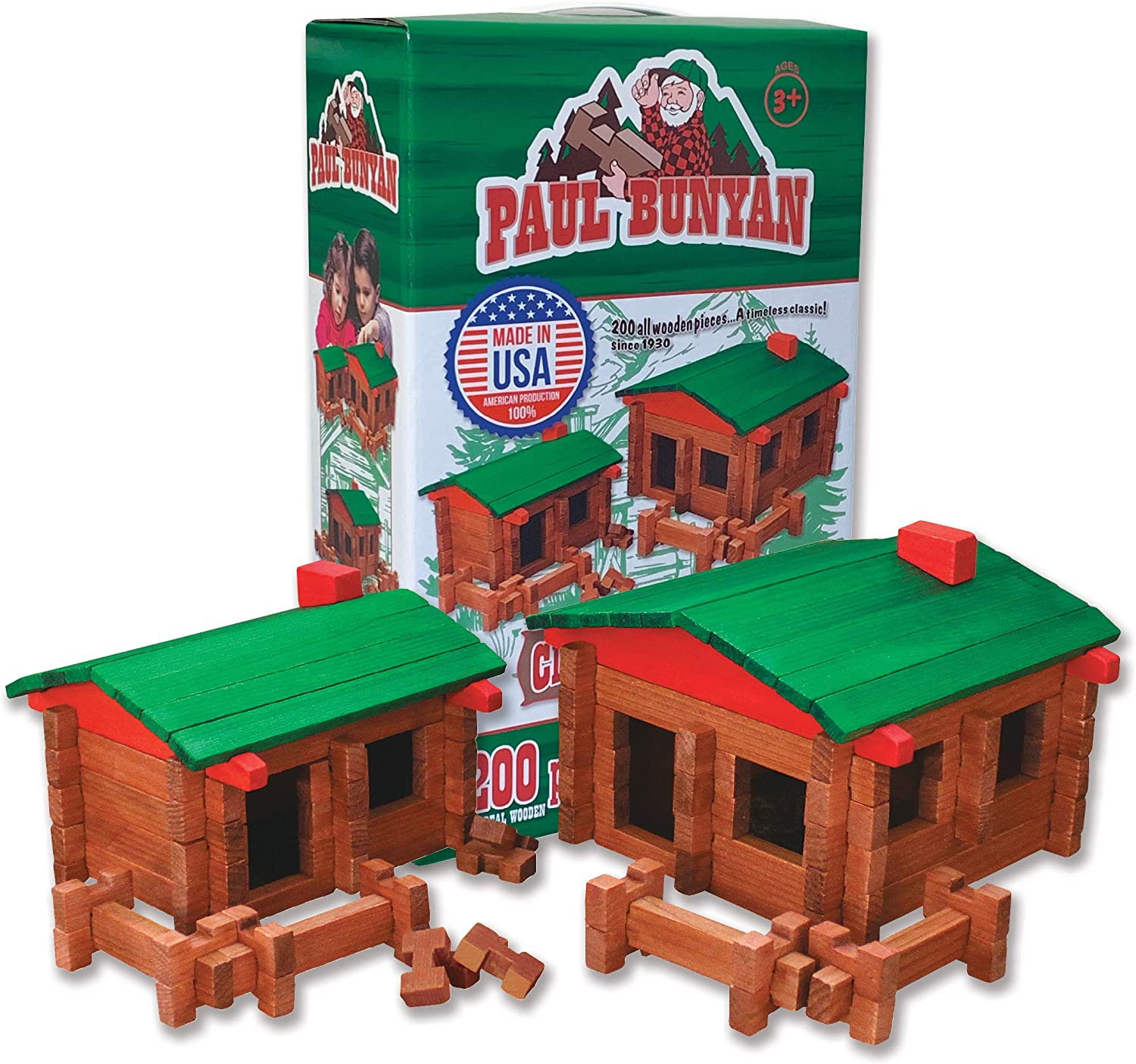 Paul Bunyan 200 pc. Deluxe Log Building Set, Made in The USA!: Toys & Games