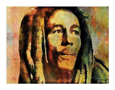 Amazon.com: Bob Marley Canvas Art By J.l. Colon (12X16 Print (No ...