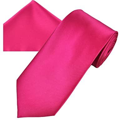 e9e0e9df7cb8 Plain Lipstick Pink Men's Satin Tie & Pocket Square Handkerchief Set ...