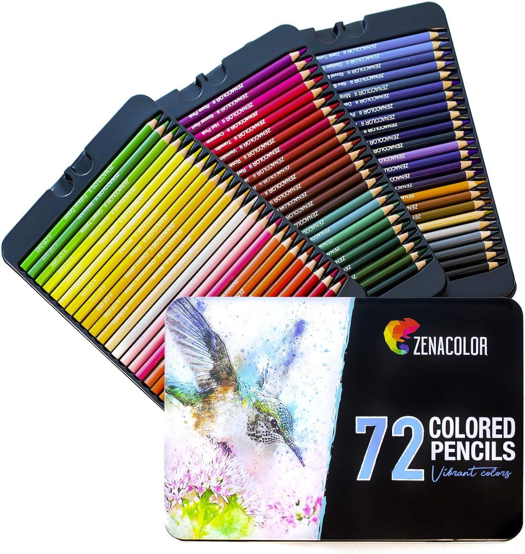 72 Lapices de Colores p/ Colorear Libros Adultos Caja Metal