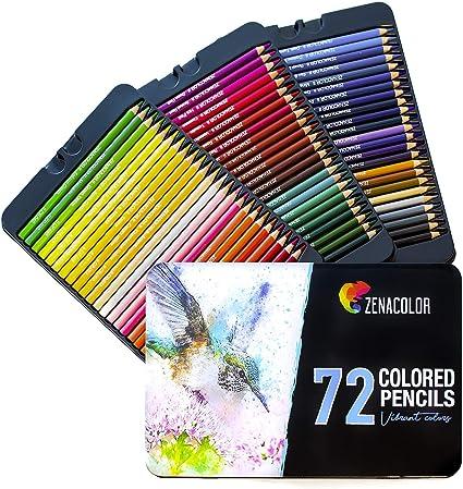 72 Lápices de Colores (Numerado) con Caja de Metal de Zenacolor - 72 Colores Únicos para Libro