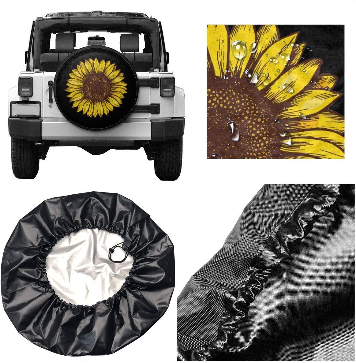 Dujiea 3D Ocean Dolphin Spare Tire Cover Universal Wheel Tire Cover Waterproof Dust-Proof Tire Protectors for Jeep Trailer Rv Van SUV Truck Camper and Many Vehicle 14 15 16 17 Inch