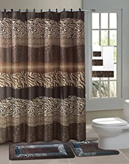 GorgeousHome Complete Bathroom Set Printed Banded Rubber Backing Rug Bath  Mats With Fabric Shower Curtain U0026