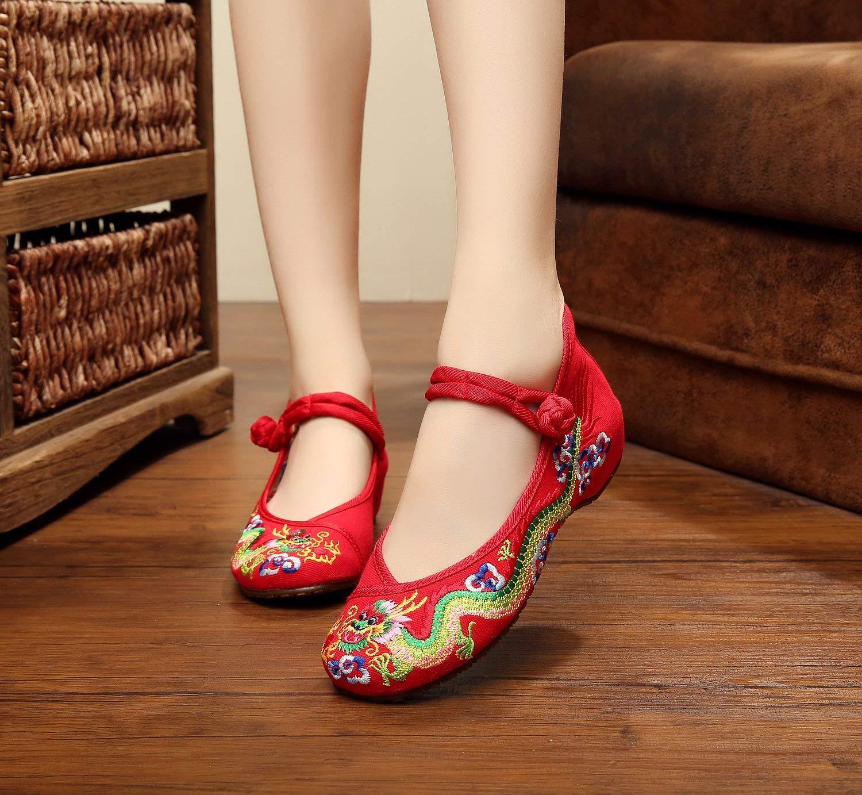Moontang Bestickte Schuhe Sehnensohle Ethno-Stil weibliche Stoffschuhe Stoffschuhe Stoffschuhe Mode bequem lässig innerhalb der Erhöhung rot 42 (Farbe   - Größe   -) 8376e8