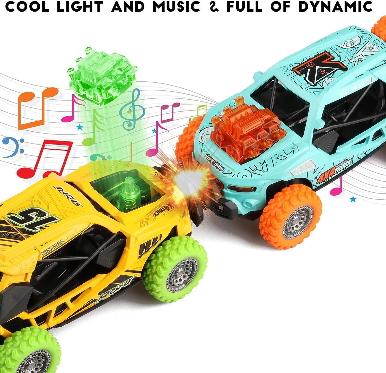 JAMSWALL Juguete Coches,2 Packs coche de juguete con m/úsica y Cuerpo de aleaci/ón de Aluminio Ligero para Ni/ños Mayores de 3 A/ños,1:36Tire hacia Atr/ás Coches Todoterreno para Regalos Navidad Cumplea/ños
