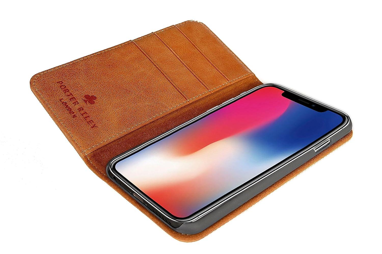 Porter Riley Coque pour iPhone XR Bronzage Brun Housse Premium en Cuir v/éritable avec Socle Rabattable//Coque//Etui//Portefeuille