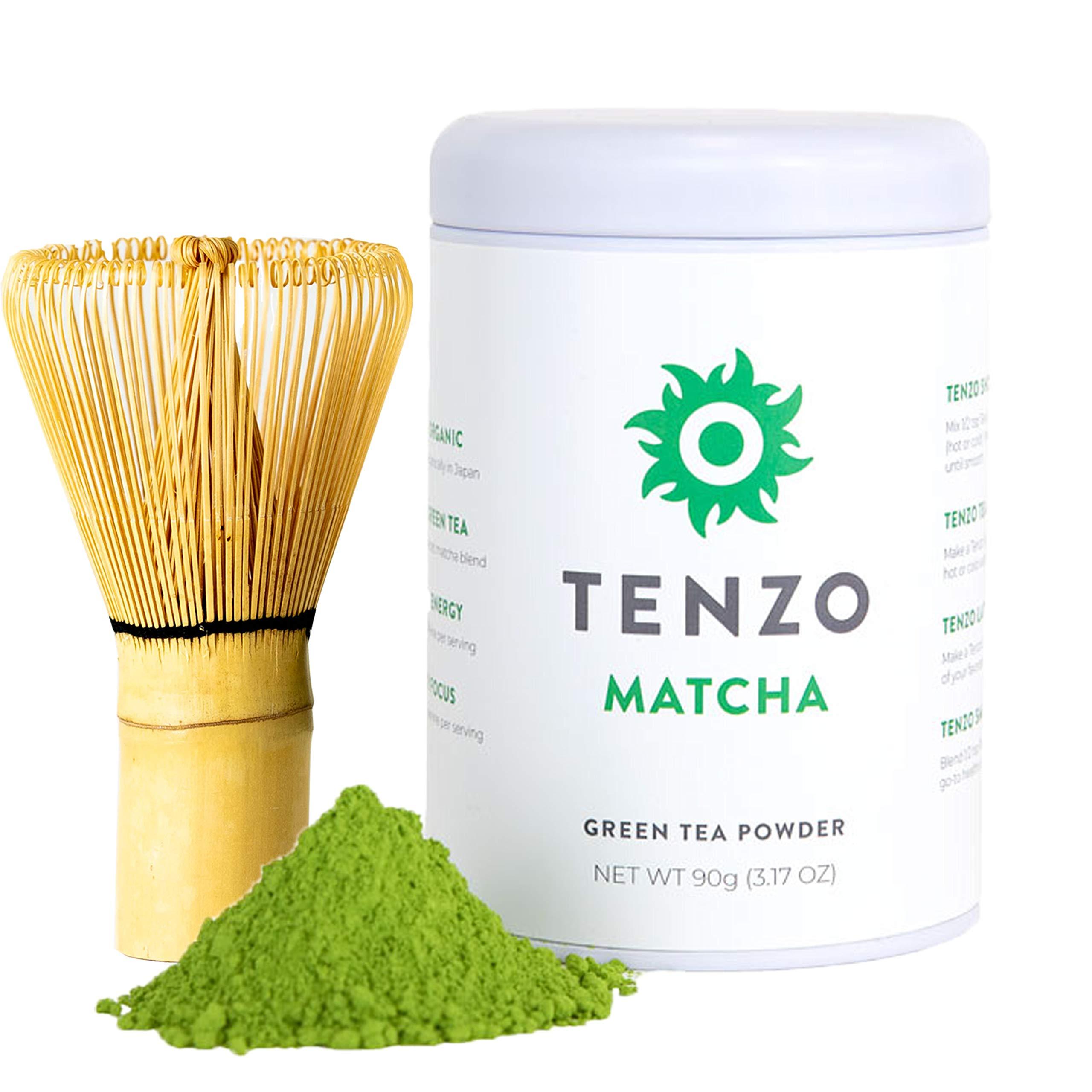 Tenzo Tea (Whisk Included in Box) - Ceremonial Grade Matcha Green Tea Powder (For Sipping as Tea) - USDA Organic, Kosher, Vegan, Paleo/Keto Friendly (90 Gram + Whisk)