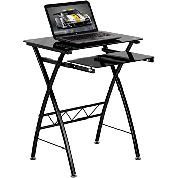 Amazon Com Flash Furniture Black Tempered Glass Computer
