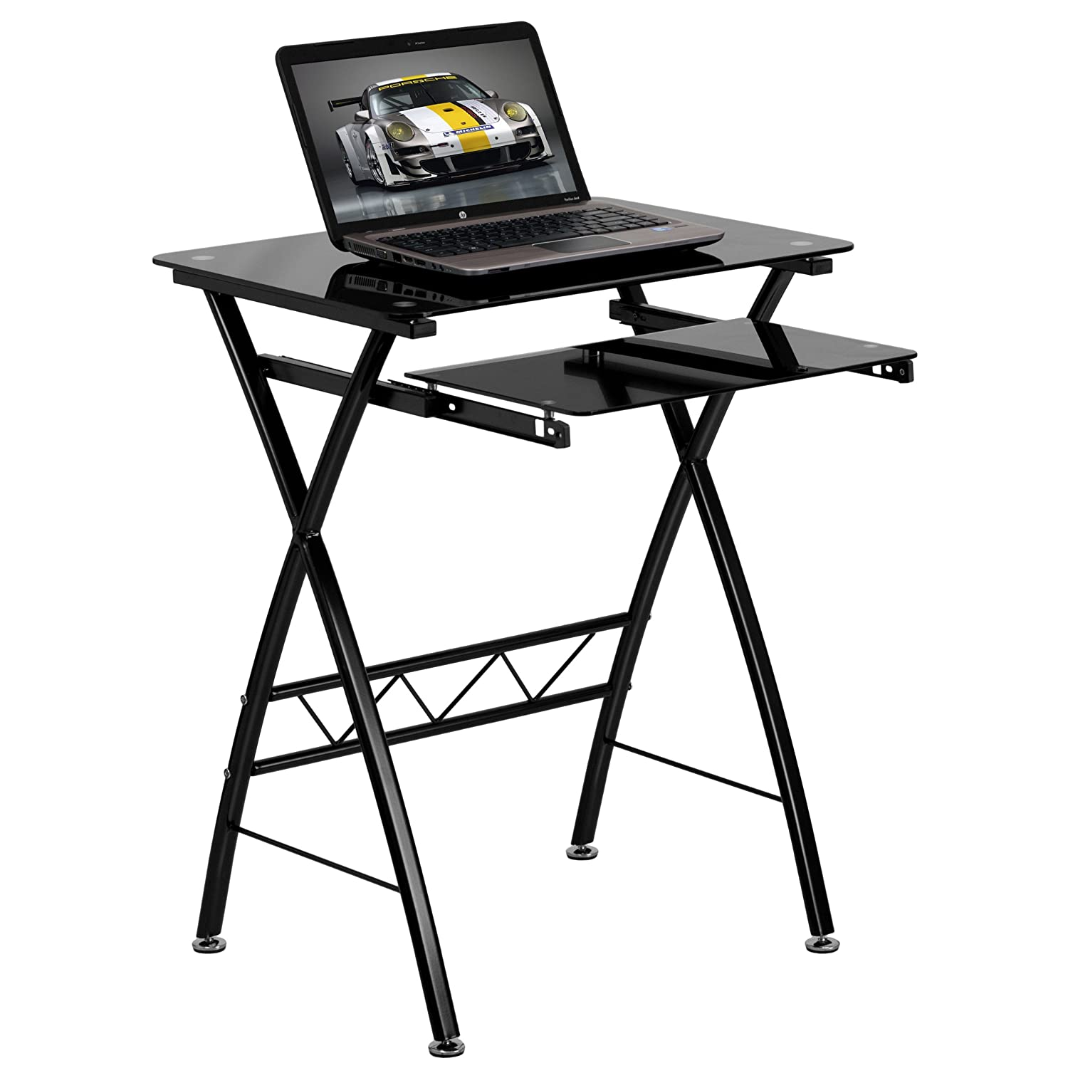 huge discount af813 c2e59 Flash Furniture Black Tempered Glass Computer Desk with Pull-Out Keyboard  Tray