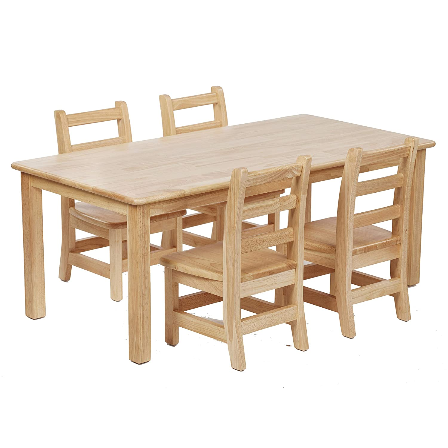 a801c62011c0c ECR4Kids Hardwood Kids Table and Chair Set - 24 x 48 Inch Rectangle Table  with Four 10 Inch Ladderback Chairs - Childrens Furniture for Playrooms