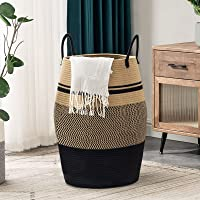 YOUDENOVA 105L Extra Large Woven Laundry Hamper Basket with Heavy Duty Cotton Rope Handles for Clothes and Toys in…