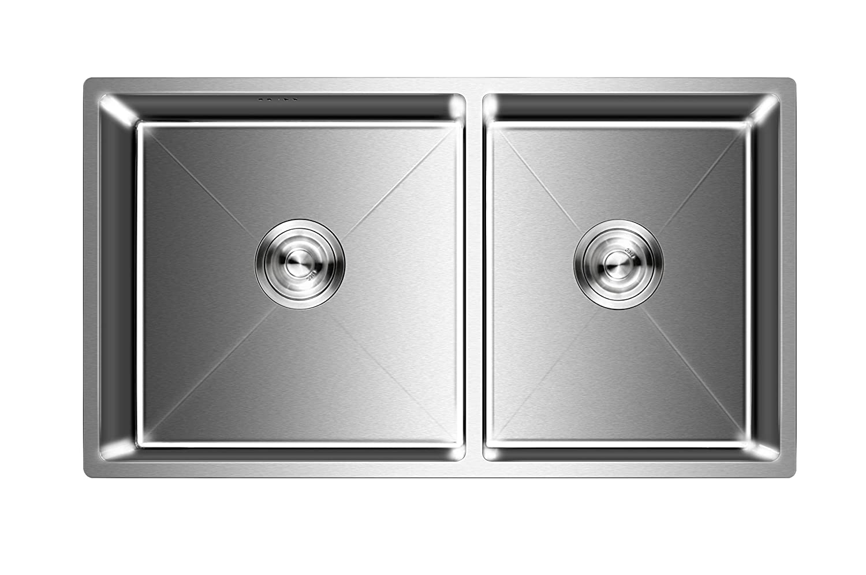 Auralum - Fregadero de Dos Senos para Cocina de Acero Inoxidable (78 x 43 x 22 cm)