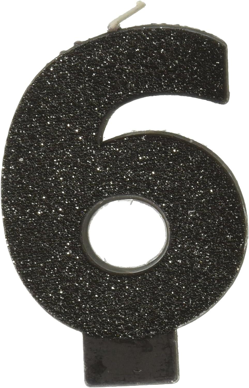 "Amazon.com: Negro # 6 Cumpleaños Glitter 3.25"" Vela ..."