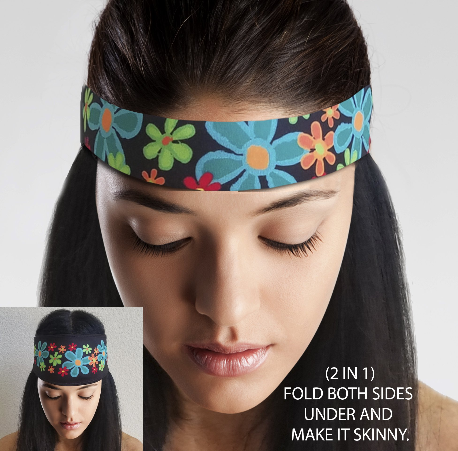 ArtSmackedByCherTM Wide Flower Sports Headband for Women. Moisture Wick Absorbs Sweat. A Polyester/Spandex Athletic Sportsband, Non-Slip, Cooling, Fashionable. Great for Gym, Running, Yoga, Crossfit. by ArtSmackedByCher(TM) (Image #4)