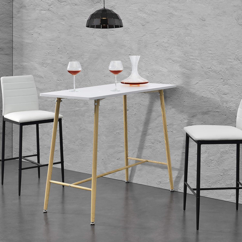 en.casa Bartheke 110 x 50 x 90 cm Bartisch MDF Metallgestell Stehtisch Schwarz