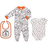 Mini B. by Baby Starters 3-Piece Layette Set with Sleep and Play, Bodysuit and Cloth Bib (Black and White/Little Man Cub, 0-3M)