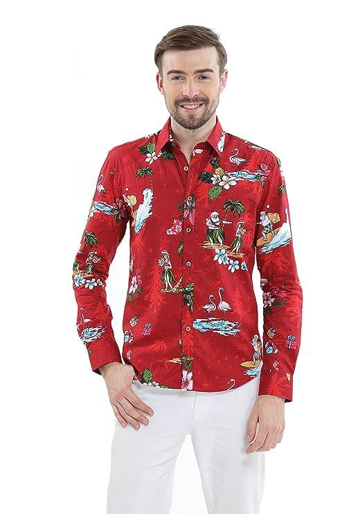 Pareja Matching Hawaiian Luau Cruise Traje de Navidad Camisa Vestido Santa Rojo Hombre 2XL Mujer S: Amazon.es: Ropa y accesorios