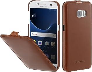 StilGut Housse pour Samsung Galaxy S7 en Cuir véritable et à Ouverture Verticale clipsée, Cognac