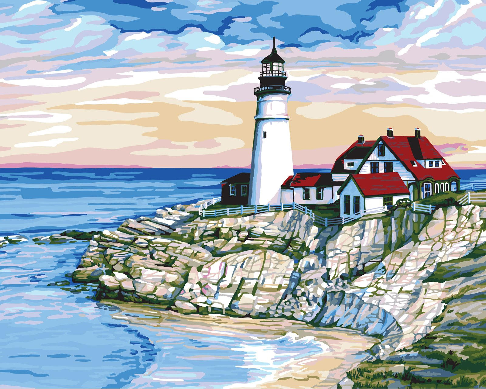 Plaid Creates Paint by Number Kit (16 by 20-Inch), 21721 Morning at Port