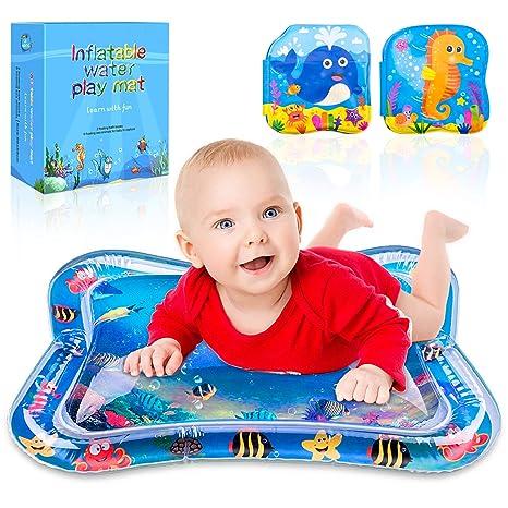 Tintec Cojín inflable de agua para bebés,Actividades divertidas para bebés,patted pad inflable de agua,2 libros flotantes de baño para ...