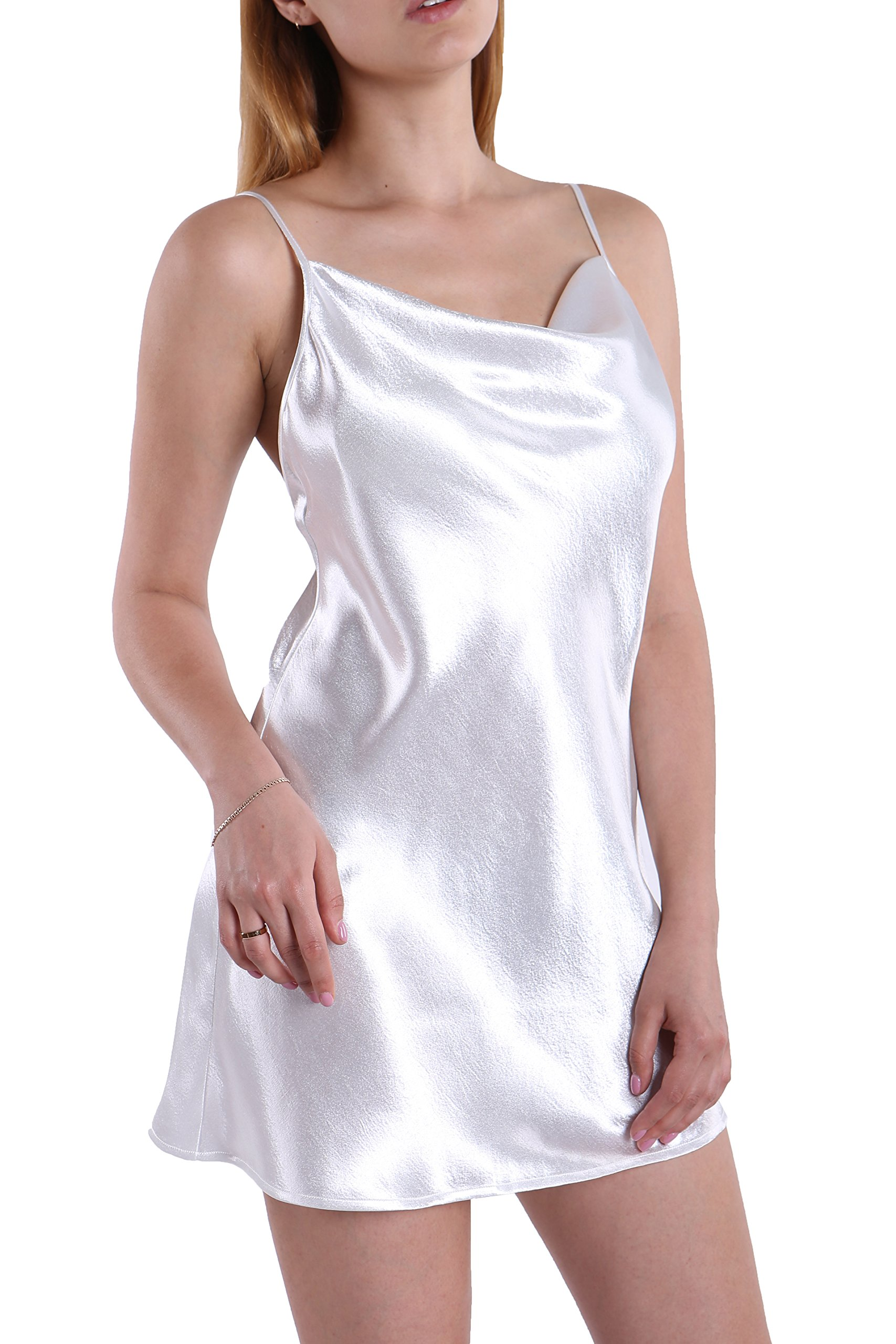 Fyriona Women's Satin Slip Dress Backless Nightgown Long Camisole Top Basic Layering Chemise Cowl Neck Mini Slip Dress White M