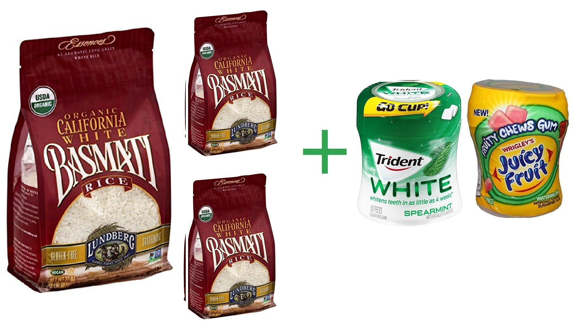 Lundberg Organic California White Basmati Rice 32 oz (3 Pack) + Fruity Chews Gum Watermelon 1/60 Count + Trident Go Cup Peppermint and Spearmint 1/60