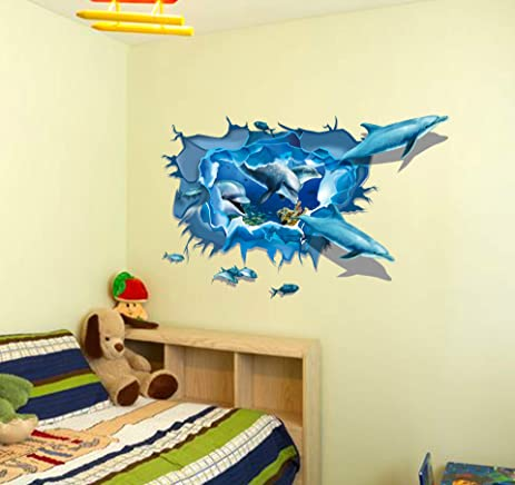 Amazon.com: Let\'S Diy 3D Flat Dolphins Wall Stickers Sofa Background ...