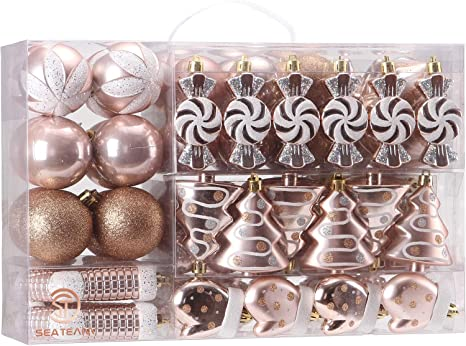 Amazon Com Sea Team 77 Pack Assorted Shatterproof Christmas Balls Christmas Ornaments Set Decorative Baubles Pendants With Reusable Hand Held Gift Package For Xmas Tree Rose Gold Kitchen Dining