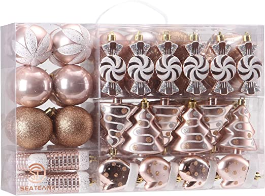 Amazon Com Sea Team 77 Pack Assorted Shatterproof Christmas Balls Christmas Ornaments Set Decorative Baubles Pendants With Reusable Hand Held Gift Package For Xmas Tree Rose Gold Furniture Decor