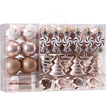 Christmas Ornament Set.Sea Team 77 Pack Assorted Shatterproof Christmas Balls Christmas Ornaments Set Decorative Baubles Pendants With Reusable Hand Held Gift Package For