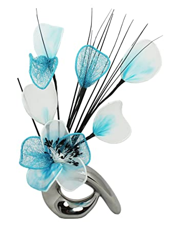 Amazon Flourish 798598 Qh1 Silver Vase With Teal And Duck Egg