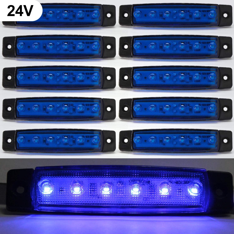 Luces de marcador lateral de LED,Indicadores de posición Azul 24V Impermeable Lámparas laterales led para camión remolque Lorry Cab Bus Barco Tractor autocaravana 10pcs